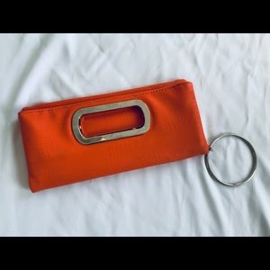 Faux Leather Orange Clutch/Wallet with hoop handle